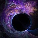 Streamers of orange, blue, and purple emanate from a mesmerizing black hole, in this image evocative of a gas cloud or energy field. Great for sci-fi themes!