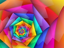 Rainbows of lively color in bright primary hues spiral into the center of this image, which features jagged, zigzag lines and triangle shapes.