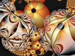 In this whimsical fractal, spirals of striped pumpkin balls in the orange and gold of autumn are dusted by frost, suggesting the nip of fall in the air. A Halloween alternative to ghosts and goblins.
