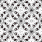 This delicate kaleidoscopic swatch in black and white, with just a touch of red, was made from our Space Port fractal. It has a starburst pattern and a slightly Moorish feel. Tile it for giftwrap, wallpaper, or textile designs.