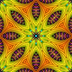 This kaleidoscopic background pattern, in brilliant yellows, oranges, and greens, was made from our Rainbow Tree fractal. The starburst shape and contrast between thick and thin lines would make it great for fabric or textile design.