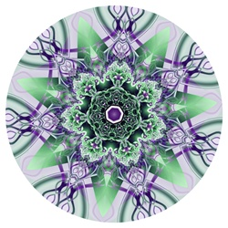 Though it's not obvious here, the fractal this mandala is made from, titled Lichens in Love, contains naturalistic themes. The soft green moss-like center, woven through with violet ribbons, make lovely complements both in form and color.