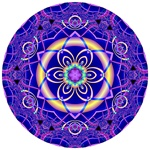This vibrant blue and purple mandala is made from our Symphony in C# Minor fractal. It contains a delicate lacy edge effect around a strong central brass ring containing a six-pointed star.
