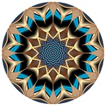 Pointed gold spokes emanate from the core of this mandala, which has a deep blue center. Like the other mandalas made from our Spore Farm fractal, it seems to have a feel of ancient Egypt, Persia, or other realms of antiquity.