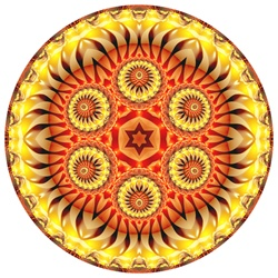 This abstract fractal mandala is strongly evocative of Jewish and Hebrew iconography, offering an unusual way to mark dates and holidays important to Judaism.