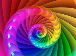 A coil of strong primary hues spirals into the center of this brilliant rainbow image. Great motif for a pride event!