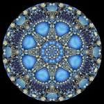 This dynamic fractal mandala with shades of blue, cyan, gold, beige, and brown is suggestive of the night sky and mysticism.