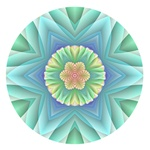 This pretty fractal mandala has a floral motif, delicate pastel spring colors, marked by tones of blue, green, cyan and yellow. This would make a lovely logo for a massage therapist or other health practitioner.