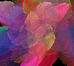 All the colors of the rainbow mingle in this fractal potpourri, which resembles a casual scattering of flower petals, angel wings, or, perhaps, a tissue paper collage.