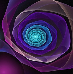 This beautiful unraveling fractal ribbon, in delicate tones of purple, blue, cyan, and magenta, resembles a rose or flower in bloom.