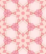 In a soft, pink feminine palette and a simple repeating star design, this kaleidoscopic swatch has a retro fifties feel. It was made from our <em>Martian Chronicles</em> fractal. Tile it for giftwrap, wallpaper, or textile designs.