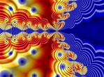 Named for the Newton formula from which it is derived, this abstract fractal image is replete with lots of dots and undulating waves in bold primary hues of red, yellow, and blue.