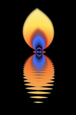 With orange, yellow, and blue fire colors, this bright flame flickers with a life of its own. On a plain black background, it is a light in the darkness.