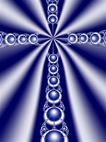 This white fractal cross against a blue sky emanates rays of light and can be used to communicate religious faith or a calm, tranquil meditative state.