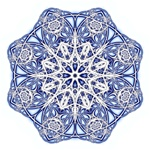 This star shaped snowflake is the very epitome of winter with its icy chill and frosty tones of blue and white. Bundle up and pass the hot buttered rum!