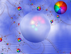 In this surreal image, a glowing sphere floats against a blue sky and rippled water, reflecting the colorful rainbow balls that swirl in the background.