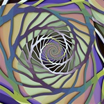A delicate 3D stencil silhouette spirals into the center of the image, against a muted green, gold and purple, background.