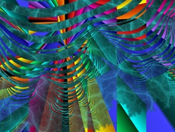 In this abstract fractal artwork, a series of undulating rainbow waves cascades over an aquatic background.