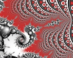 An elegant spiral of grey pearly spheres intersects with a blood red background containing wave after wave of polka dots.