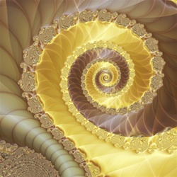 This abstract fractal image features a strong central spiral and is evocative of ribbons of white and milk chocolate.