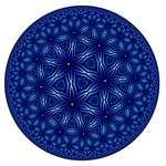 Named for the formula used to create it, this deep blue fractal was made by iterating a branching tree formula inside a circle, for a very mandala-like effect.