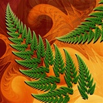 Ferns or cedar boughs appear against bark or a wood like maple or mahogany in this abstract fractal with naturalistic motifs.