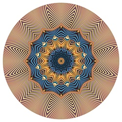 Blue and gold starbursts radiate from the center of this mandala, which has a feel of ancient Egypt, Persia, or other parts of the ancient world. It was made from our Spore Farm fractal.