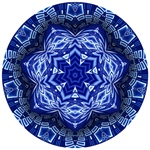 This delicate mandala in blue and white has the feel of porcelain and is made from our Interstellar City fractal.