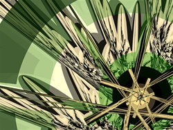In this abstract fractal, a golden spoked wheel rests before a mass of spiky green plants resembling rushes or perhaps yucca. A spring palette with a fractured, jagged edginess.