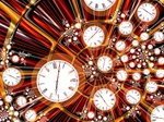 This whirl of clock faces against a motion blur suggests speed, stress, and the pressure of schedules and appointments. What a great image for a puzzle!