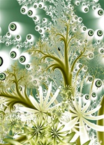 In this maritime, nature-themed fractal, delicate strands of seaweed and shimmering green aquatic blooms float against a bubbly aerated background. Great fractal for puzzle use.