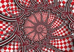 A red and white checkered tablecloth spirals into the center of this lively image, while undulating tendrils spiral out. Great puzzle material!